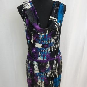 SILK Graffiti Cowl Neck Power Stretch Dress